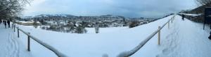 Panoramablick auf die Stadt St. Gallen im Winter